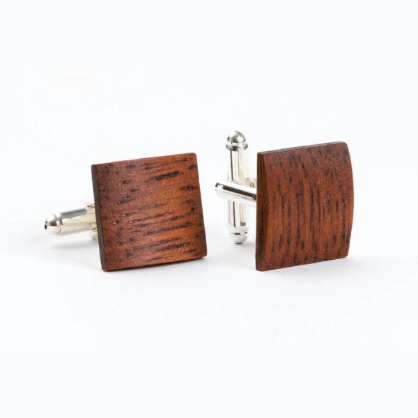 drewniane spinki do mankietów - merbau ręcznie wykonane Lerymond