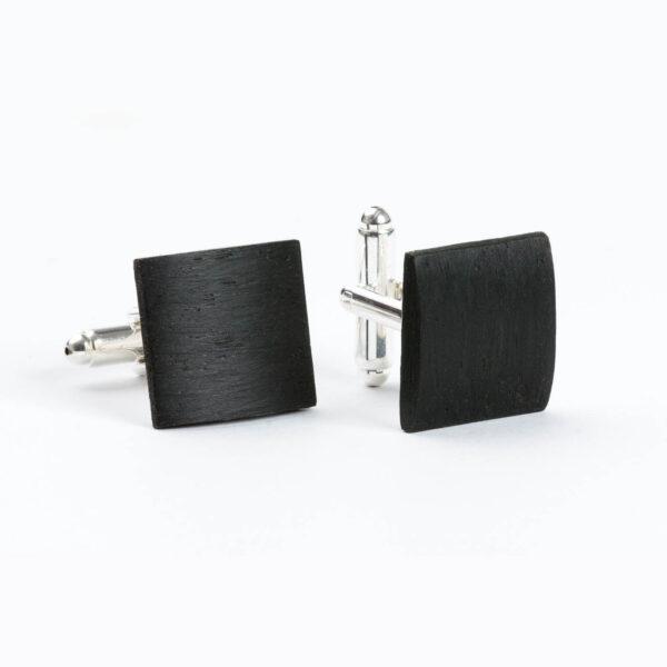 drewniane spinki do mankietów - czarny dąb, naturalne, oficjalne, poważne, business style