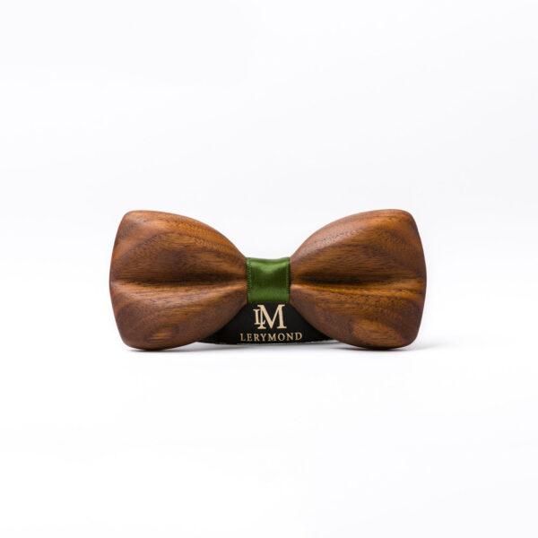 drewniana mucha morpho. Muszka ręcznie wykonana Lerymond. Orzech amerykański