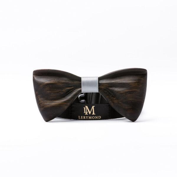 drewniana muszka męska model papilio, czarny dąb - stylowa, elegancka