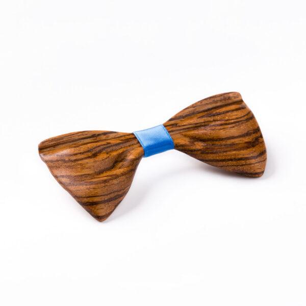 drewniana mucha papilio, drewno zebrano - wyrazista, ciekawa muszka do wielu stylizacji