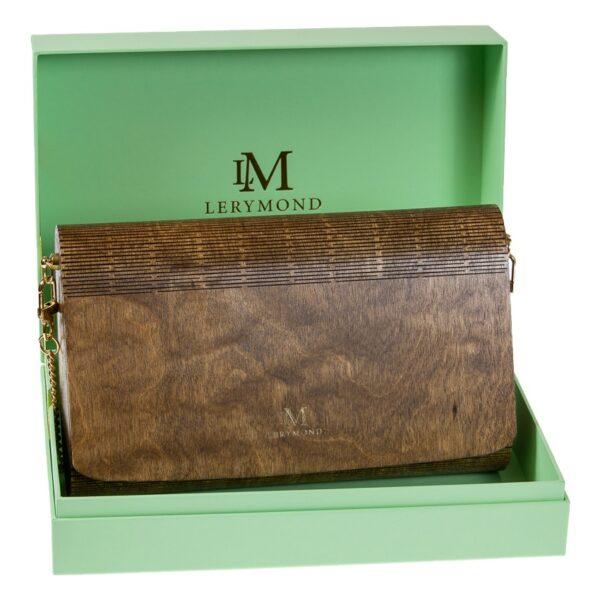damska torebka marki Lerymond drewniana, dąb antyczny